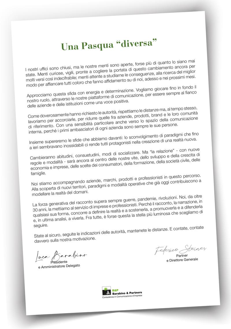pasqua comunicazione emergenza coronavirus barabino & partners luca barabino federico steiner
