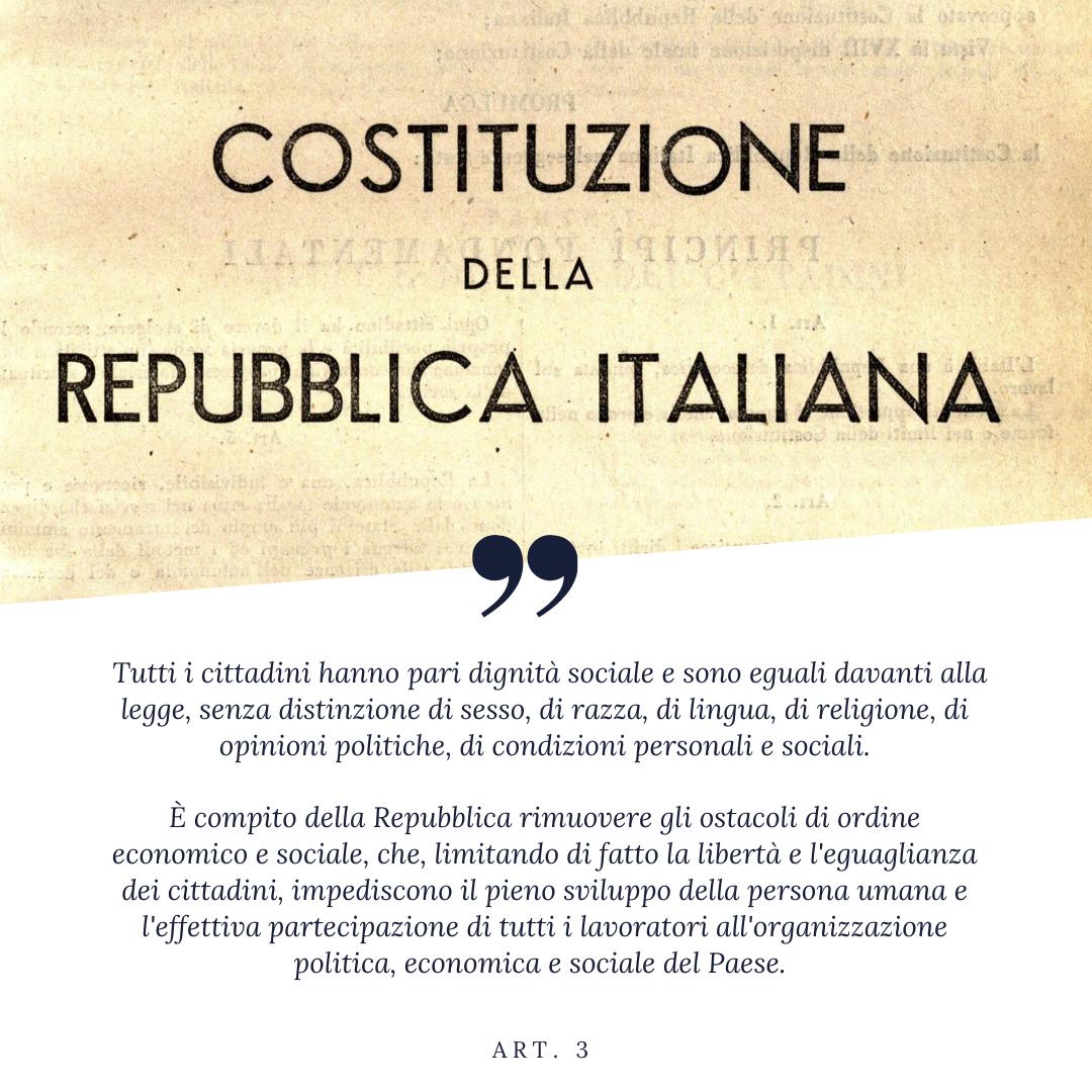 Costituzione italiana testo articolo 3 uguaglianza